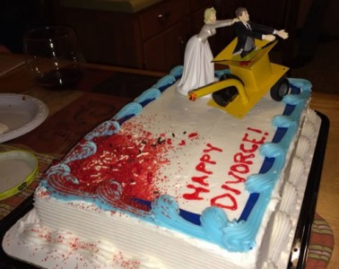 Bride puts husband in wood chipper divorce sheet cake | riotdaily.com