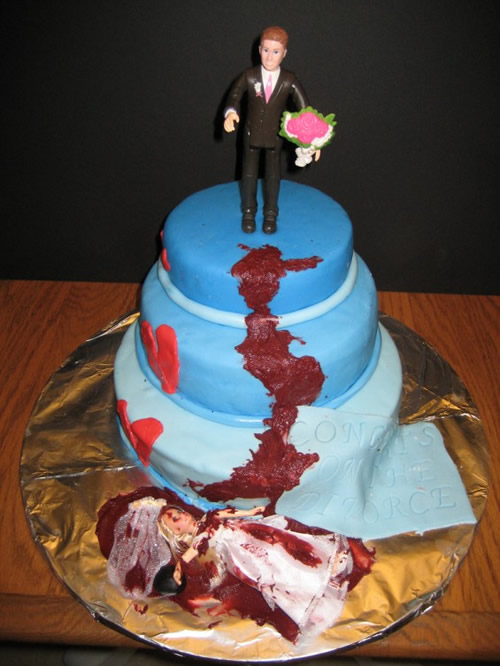 Blue tiered divorce cake with fallen bloody bride and groom holding bouquet | riotdaily.com