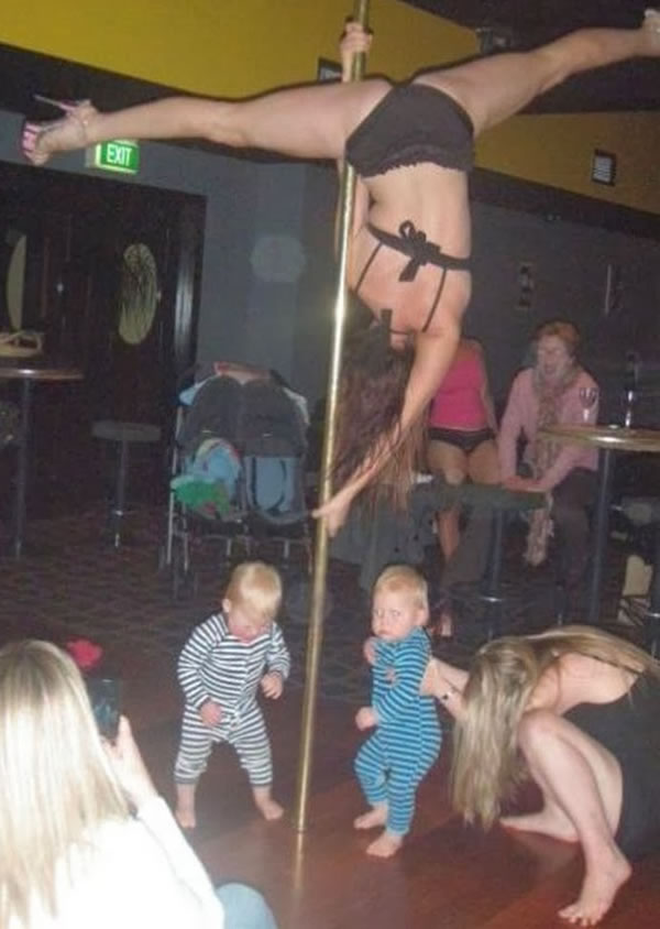 WTF-Mom-Fails17- babies stripper pole dancing mothers day bad parenting