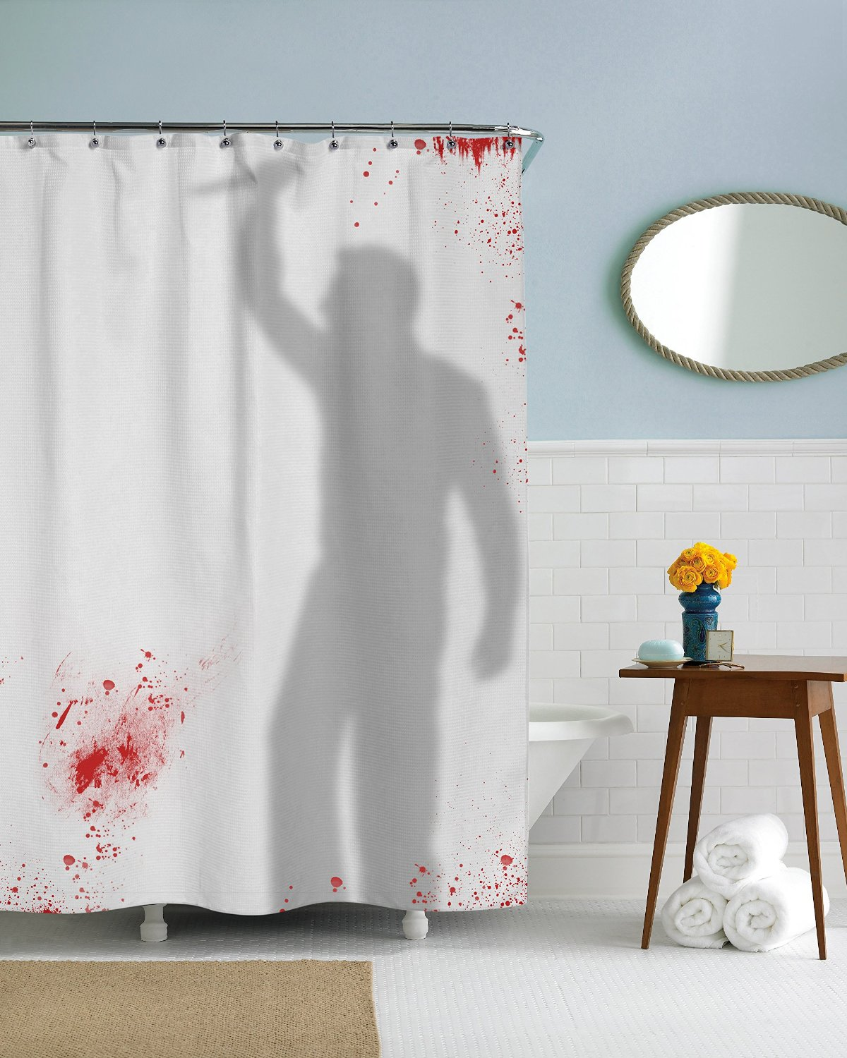 Psycho killer shower curtain amazon halloween shower for Psycho shower curtain and bath mat