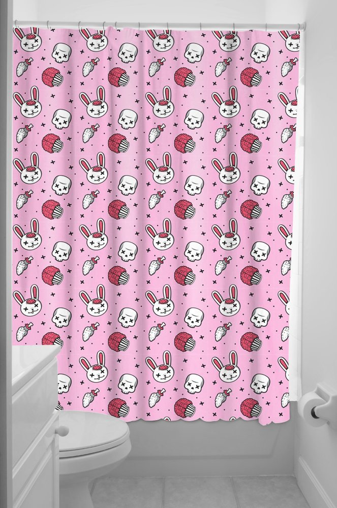 Zombie bunny cupcake skulls shower curtain