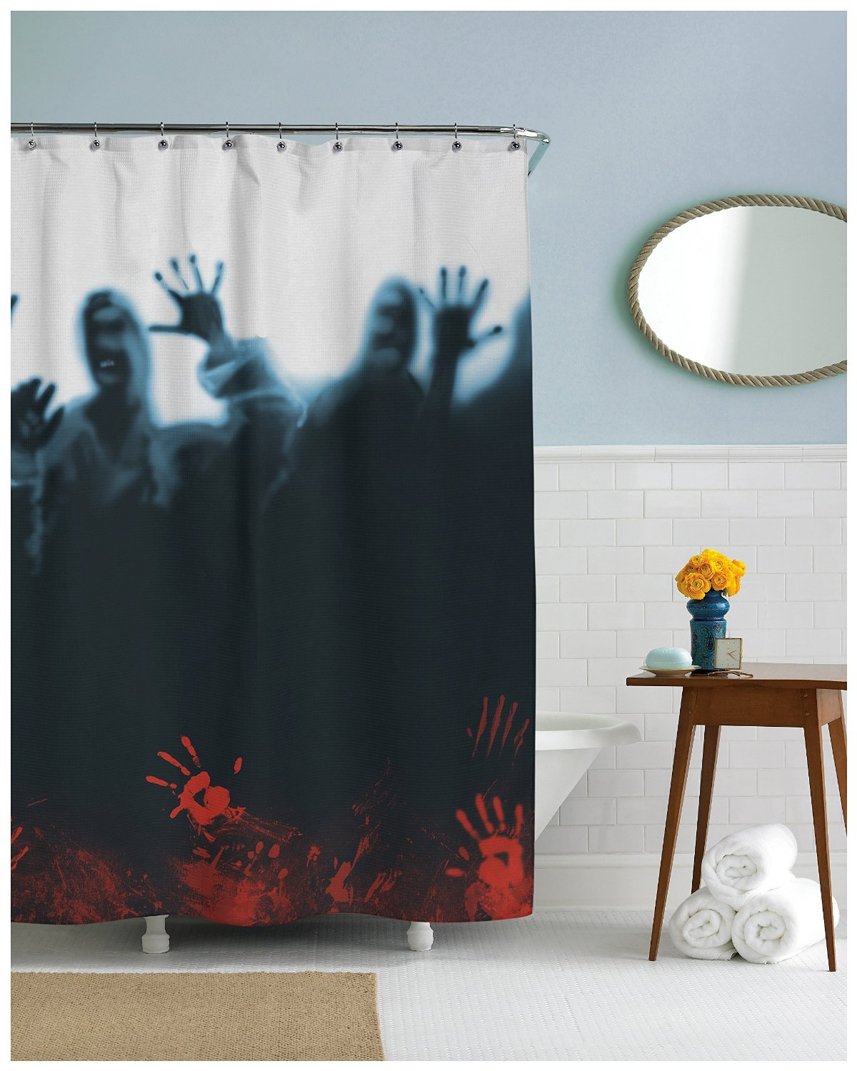 Halloween shower curtain - Super Scary Zombie Mob Shower Curtain Zombie_herd_shower_curtain_scary_zombies Zombie_herd_shower_curtain_scary_zombies
