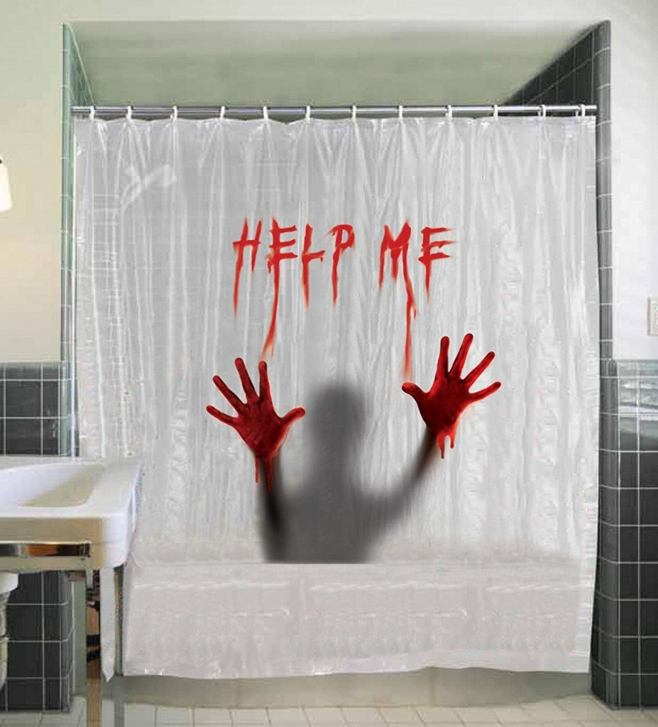 help me shower curtain bloody hands