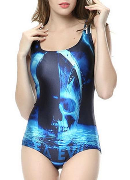 ghost ship_horror_swimsuit RedExtend Women's Famous Movie Poster Tight Stretch One Skeleton Skull Piece Swimsuit Swimwear