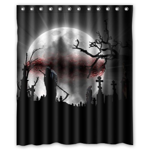 grim reaper graveyard shower curtain