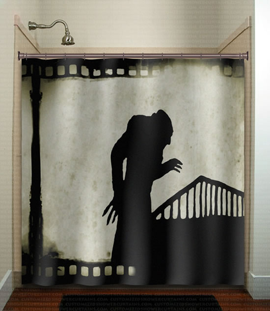 21 horror inspired shower curtains to creep up your home for Psycho shower curtain and bath mat