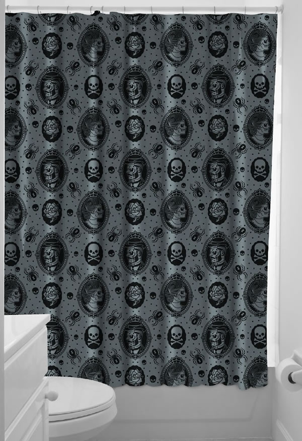 Sourpuss Zombie Skulls Cameo Shower Curtain