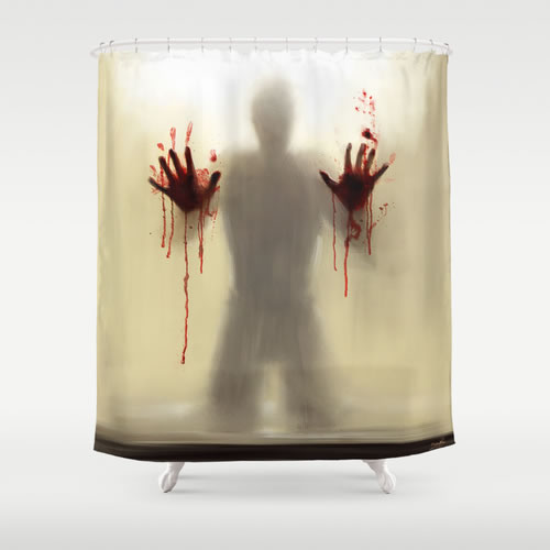 Society 6 Beware To The Shower you Are Not Alone Shower Curtain