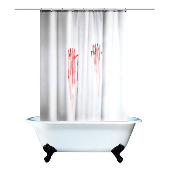 Blood Bath Horror Movie Bloody Handprint Shower Curtain