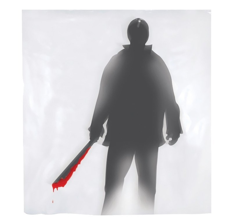 jason machete killler bloody shower curtain